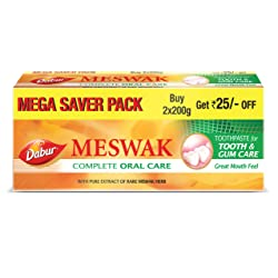 Dabur Meswak: India's No-1 Fluoride Free Toothpaste | Herbal paste made from pure extract of rare Mi