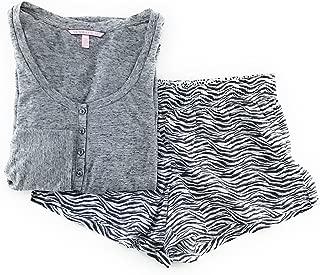 Victoria's Secret Pajama Set Mayfair Cotton Boxer Short and Long Sleeve Henley