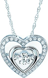 925 Sterling Silver 1/4 Cttw Diamond Double Heart Halo Pendant Necklace 18