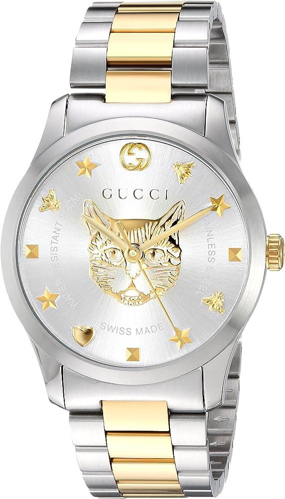 Gucci,orologio per uomo,in acciaio inossidabile e pvd oro giallo,quadrante con testa di felino in oro giallo YA1264074