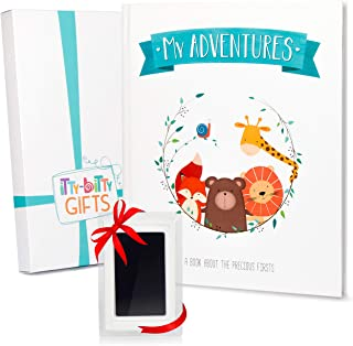 Itty Bitty Gifts First 5 Years Baby Memory Book - Clean Touch Ink Pad - Bonus Gift Box, Baby Album and Baby Journal, Baby Books First Year Memory Book, Modern Baby Shower Gifts, Scrapbook Design
