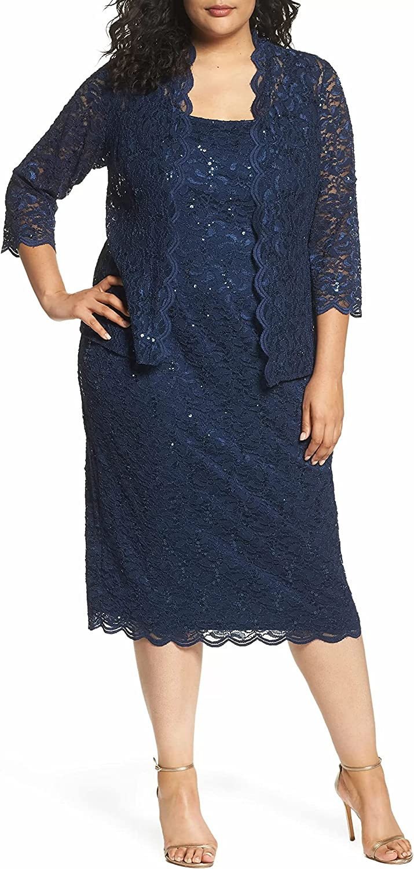 Alex Evenings Women's Plus Size Tea Length Lace Dress and Jacket