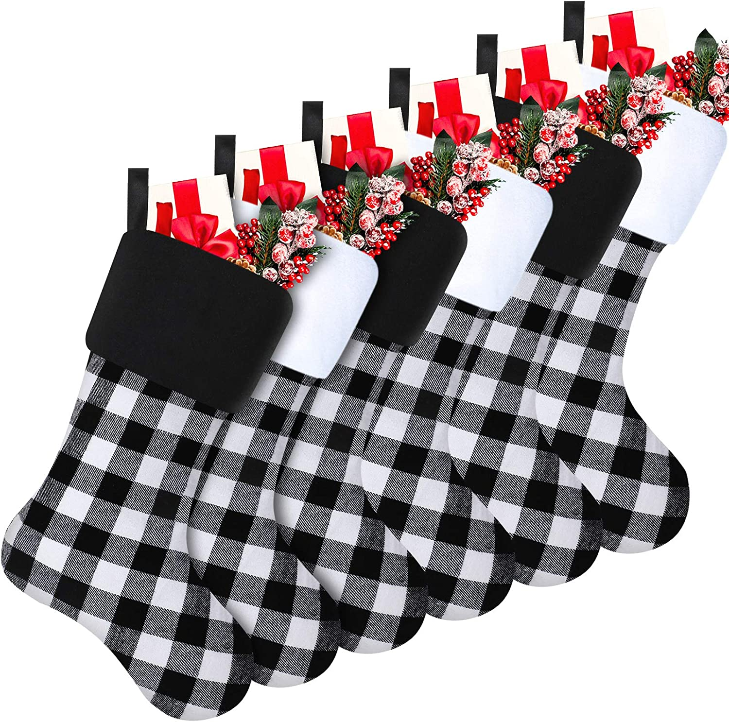 online shopping Skylety 20 Inch Christmas Stockings Stocking SEAL limited product Faux Plaid Cuff Fur