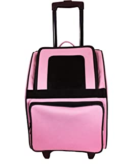 Petote Rio Pet Carrier Bag on Wheels, Black Trim/Light Pink