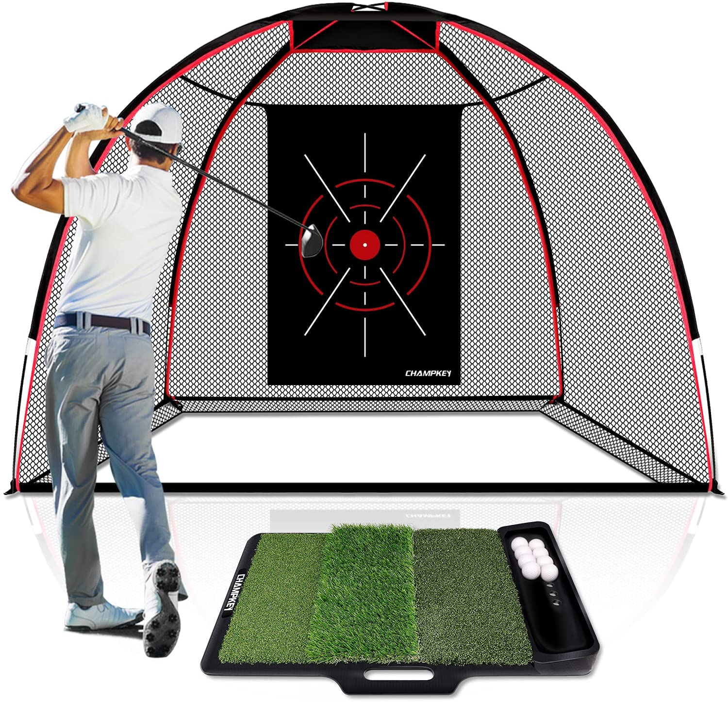 CHAMPKEY Upgraded TEPRO 10' x 7' Golf Hitting Net   5 Ply-Knotless Netting with Impact Target Golf Practice Net Ideal for Indoor and Outdoor Training : Sports & Outdoors