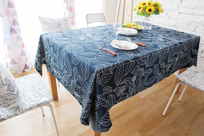 Europa Bltter Gestalten Baumwolle & Polyester Tischdecke zum Zuhause Hotel Cafe Restaurant - Mehrere Gren und Farben Verfügbar LAD-I , Blau , 140180cm