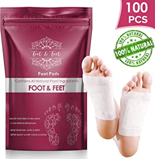 Foot & Feet 100 Pcs Foot Pads - All Natural Foot Patches, Improves Quality of Sleep, Relieves Foot Pain, Stress & Toxins, Increases Energy Level, Health Product For Feet