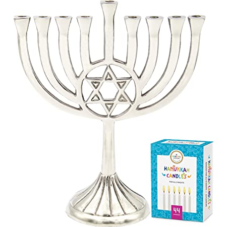 "The Dreidel Company Menorah with Traditional Star Polished Aluminum Finish, Full Size 9"" - Includes Box of 44 Elegant White Candles"