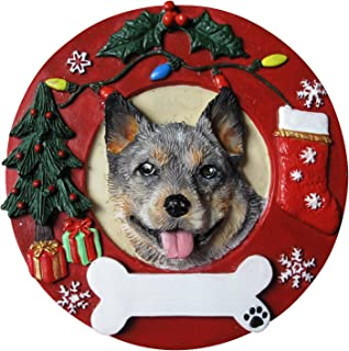 Australian Cattle Dog Christmas Ornament Wreath Shaped Easily Personalized Holiday Decoration Unique Australian Cattle Dog Lover Gifts