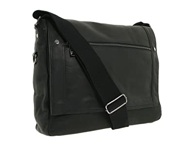Kenneth Cole Reaction Busi-Mess Essentials Single Gusset Flapover Messenger Bag (Black) Messenger Bags