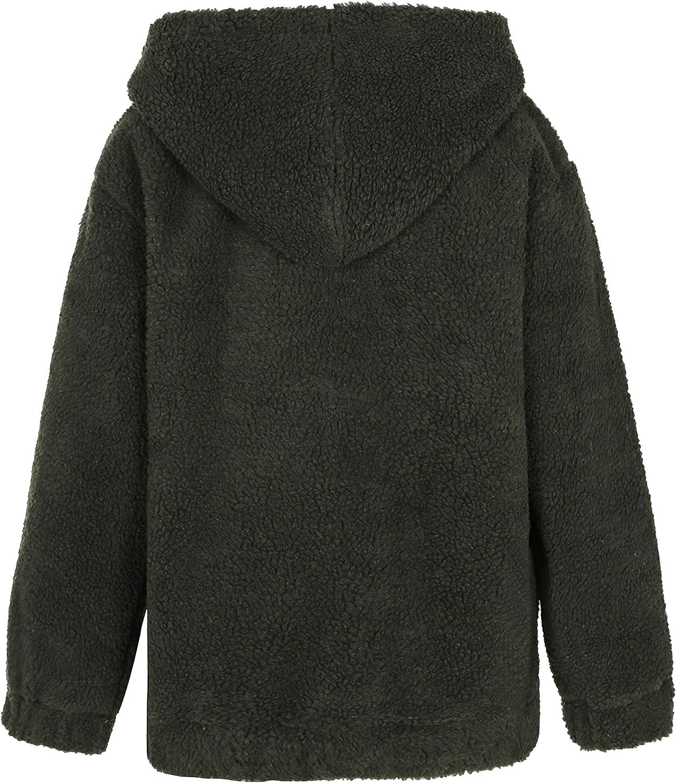 Qiaomai Womens Winter Zip Up Pocketed Short Hooded Faux Fur Shaggy Fuzzy Jacket Coat