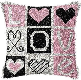 Crochet de Latch Kit DIY Oreiller Couvercle Handraft Motif imprimé Toile Broderie Ensemble Crochet Artisanat pour Enfants ...