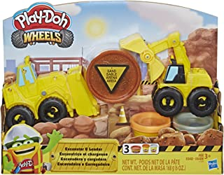 Play-Doh E4294 Wheels Excavator & Loader Toy Construction Trucks with Non-Toxic Sand Buildin' Compound Plus 2 Additional C...