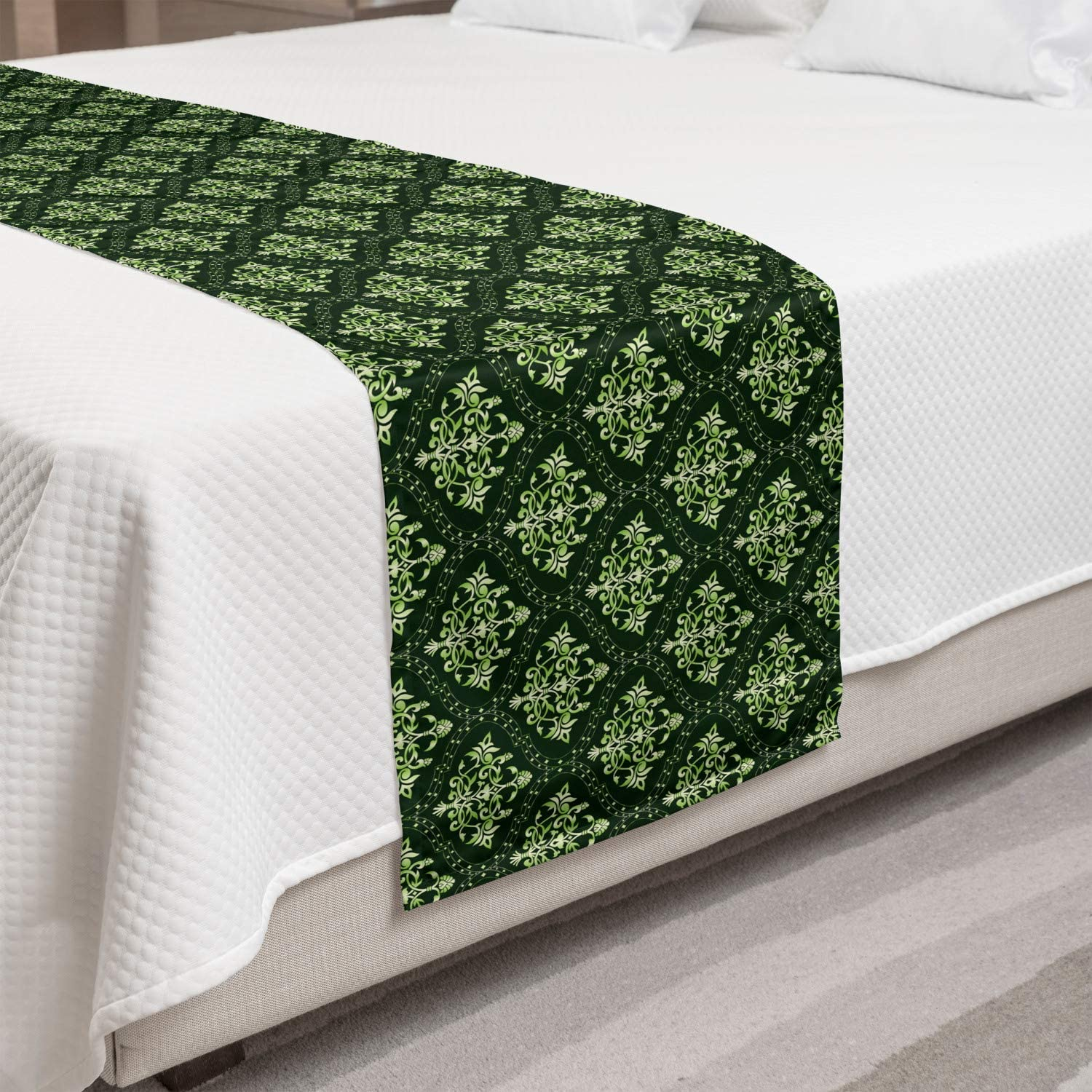 Ambesonne Damask Oakland Mall Bed Runner Oriental in Motif Nippon regular agency Floral Traditiona