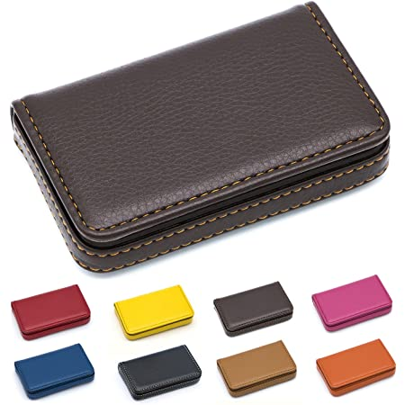 Padike Business Name Card Holder Luxury PU Leather,Business Name Card Holder Wallet Credit Card ID Case/Holder for Men & Women - Keep Your Business Cards Clean (Coffee)