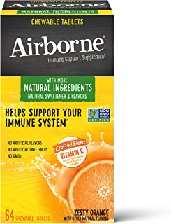 Vitamin C 1000mg (per serving) - Airborne Zesty Orange Chewable Tablets (64 count in a box), Gluten-Free Immune Support Su...