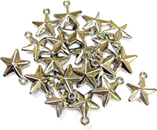 Linpeng Silver Plated Plastic 20Pack Star Charms,