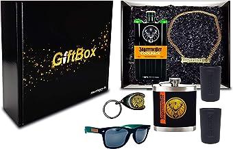 Jägermeister Giftbox Geschenkset - 7teilig mit Jägermeister Coolpack 0,35l 35% Vol Kräuterlikör Bar Drink- Enthält Sulfite