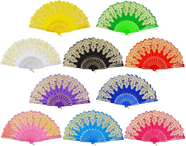 Amajiji Hand Fans For Women Rose Lace Folding Hand Held Fans Bulk For Women Spanish Chinese Japanese Vintage Retro Fabric Fans For Wedding Church Party Gifts Mixed Colors 10pcs