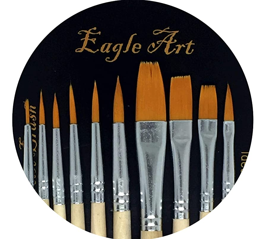 Eagle Art Artist Pointed-Round Paintbrush Set | 10 Pieces Round Pointed Tip | Artist Detail Paint Brushes Set for Fine Detail & Art Painting, Acrylic Watercolor Oil, Nail Art, Miniature, Face Painting