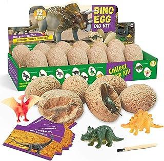 HOOME Dino Egg Dig Kit Dinosaur Eggs Dig Kits 12 Dinosaur Excavation Kits with 12 Unique Dinosaur Toys Dino Egg Kit for Ki...
