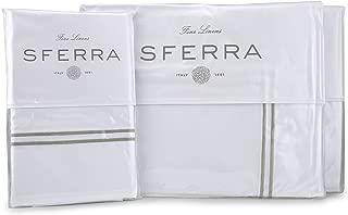 Sferra Grande Hotel Sheet Set - Queen - White/Grey