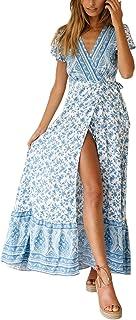 Women's Dresses Bohemian Wrap V Neck Short Sleeve Ethnic...