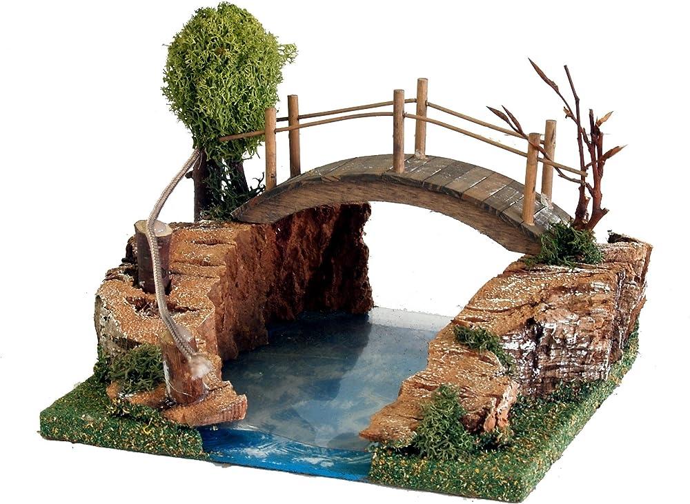 Ferrari & arrighetti  lago con ponte in legno Bertoni_461F