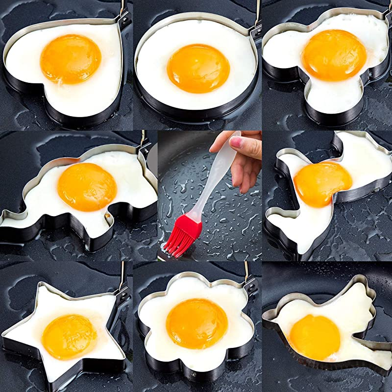 Egg Rings 8 Pcs Different Shapes Egg Cooking Rings Stainless Steel Fried Egg Molds