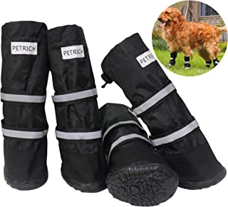 BESUNTEK Dog Boots Waterproof Shoes for Large Dogs,Dog Boots Warm Lining Nonslip Rubber Sole for Snow Winter,Anti-Slip Sole Pet Paw Protectors 4PCS