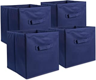 DII Foldable Fabric Storage Containers for Nurseries, Offices, Closets, Home Décor, Cube Organizers & Everyday Use, 11 x 11 x 11 Nautical Blue - Set of 4, Small (4),