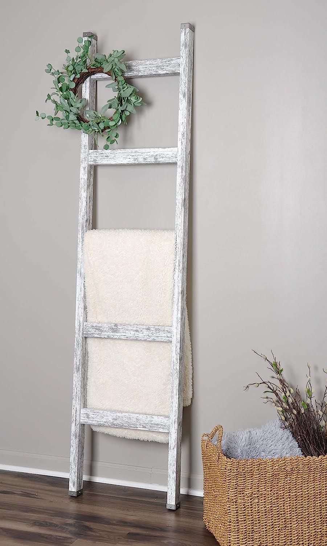 Farmhouse White 20ft Blanket Ladder & Faux Wreath Set  Amazon.co ...