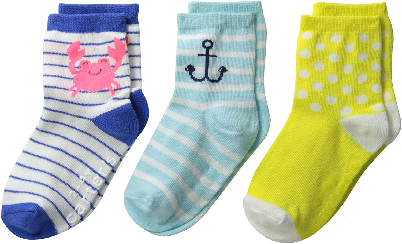Carter's Little Girls' 3-Pack Anchor Pattern Socks