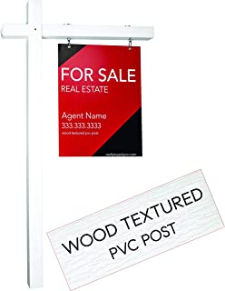 Realty Supply Pro Real Estate Sign Post - 1000's Installed - Hang for Sale Signs - Commercial Grade Yard Sign Holder - PVC Textured Wood Appearance - 6 ft. Tall (White)
