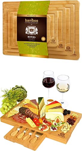 wholesale Bamboo Cutting Board new arrival with Juice Groove (5-Piece) and and Bamboo Cheese Board with Knife Set by Royal 2021 Craft Wood outlet online sale