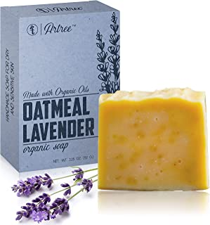 Oatmeal Lavender Organic Soap Bar - Made With Organic Essential Oils (Lavender, 1 Bar)