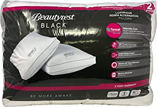 BeautyRest Black Luxurious Down Alternative Pillows 400 Thread Jumbo - 2 Pack