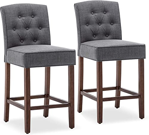 """discount BELLEZE Set sale of (2) Tufted Upholstered Counter online sale Stools Height Barstool Dining Chair Seat 27"""", Gray sale"""