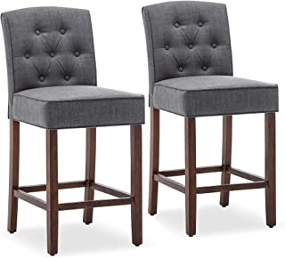 Belleze Set of (2) Tufted Upholstered Counter Stools Height Barstool Dining Chair Seat 27