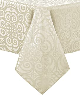 Newbridge Ironworks Scroll Damask Holiday, Thanksgiving and Christmas Fabric Tablecloth, Contemporary Damask Soil Resistant, No Iron Tablecloth, 90 Inch Round, Ivory