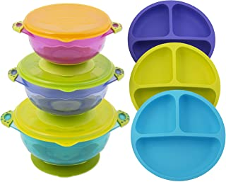 Toddler Plates and Bowls | Baby Bowls with Suction in 3 Different Sizes w/Air Tight Lid | Divided Silicone Plate - Unbreakable, Easy Clean & Perfect for Fussy Eaters | Baby Feeding Set