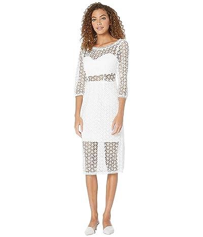 BCBGMAXAZRIA Lace Cut Out Midi Dress (Optic White) Women