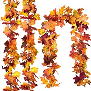 DearHouse 4 Pcs Fall Garland Maple Leaf, 5.9Ft/Piece Hanging Vine Garland Artificial Autumn Foliage Garland Thanksgiving Decor for Home Wedding Fireplace Party Christmas