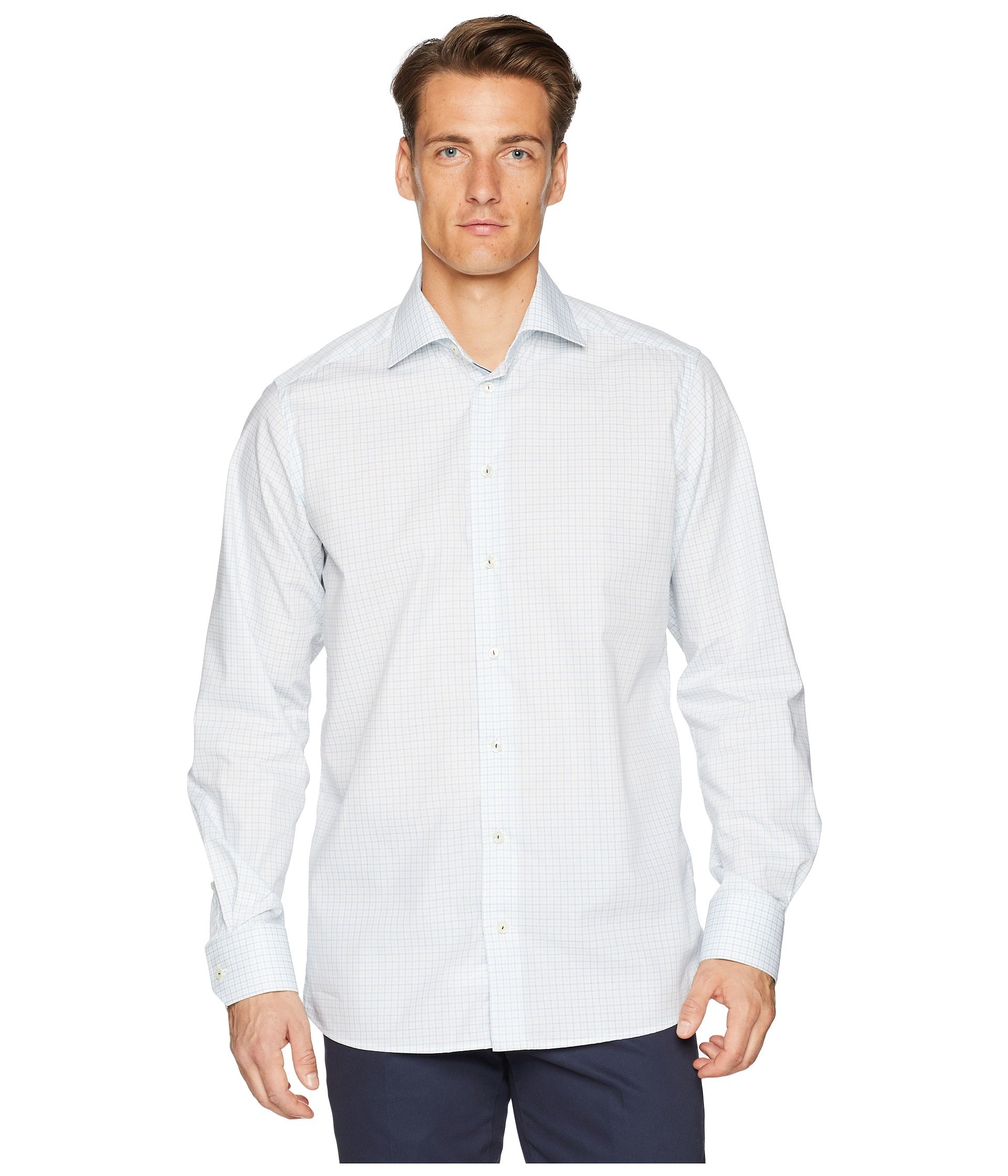 Plaid Fit Shirt Spring Eton blue Green Contemporary q5nTn0vt