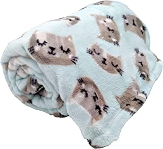 Just Home Fun Print Soft Cozy Lightweight 50 x 60 Fleece Throw Blanket (Mint with Grey Kitty Faces)