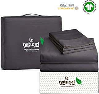 Le Naturel 300 Thread Count 100% GOTS Certified Organic Cotton Sheet Set King Size (Dark Gray) 4 Piece Bedding Sheets,Soft Sateen Weave bedsheets Set,Fits Upto 16