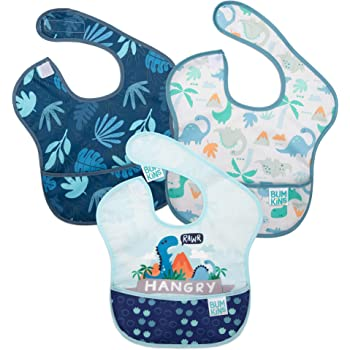 Bumkins Superbabero, babero para bebé, impermeable, lavable, resistente a manchas y olor, 6-24 meses, Dinosaurios, trópico azul, Dinosaurio y trópico azul, Paquete de 3