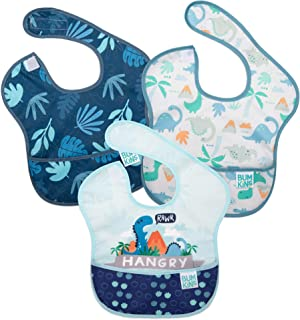 Bumkins SuperBib, Baby Bib, Waterproof, Washable, Stain and Odor Resistant, 6-24 Months, 3-Pack - Hangry, Dinosaurs, Blue ...