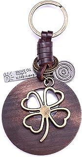 Sponsored Ad - AuPra 4 Clover Leaf Good Luck Red Wood Leather KeyChain Best Friend Gift Idea Women Men Safe House Lucky Ke...