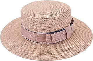 FALETO Chapeau de Paille de Soleil Pliable Femme Panama Capeline D/écor N/œud Visi/ère d/Ét/é Protection Anti UV Plage Loisirs Voyage Jazz Lady Hat